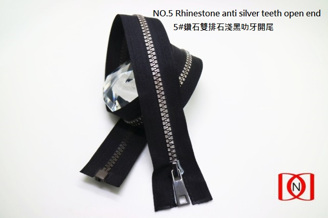 NO.5 Rhinestone anti silver teeth open end 5#鑽石雙排石淺黑叻牙開尾