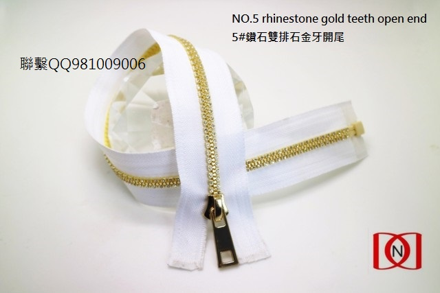 NO.5 rhinestone gold teeth open end 5#鑽石雙排石金牙開尾2
