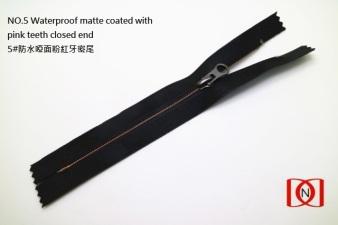 NO.5 Waterproof matte coated with pink teeth closed end 5#防水啞面粉紅牙密尾