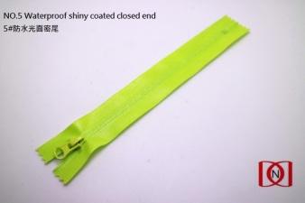 NO.5 Waterproof shiny coated closed end 5#防水光面密尾