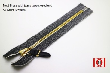 No.5 Brass with jeans tape closed end 5#黃銅牛仔布密尾