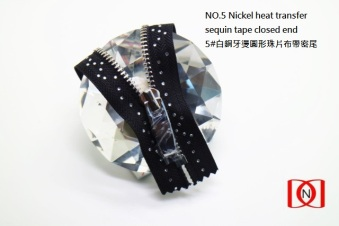 NO.5 Nickel heat transfer sequin tape closed end 5#白銅牙燙圓形珠片布帶密尾