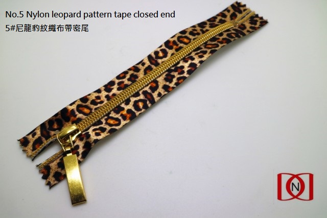No.5 Nylon leopard pattern tape closed end 5#尼龍豹紋織布帶密尾